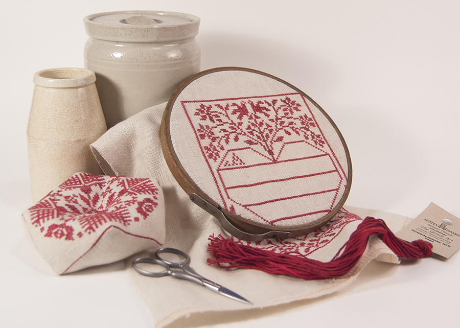 Biscornu pincushion and a Modern Folk Embroidery pattern in progress