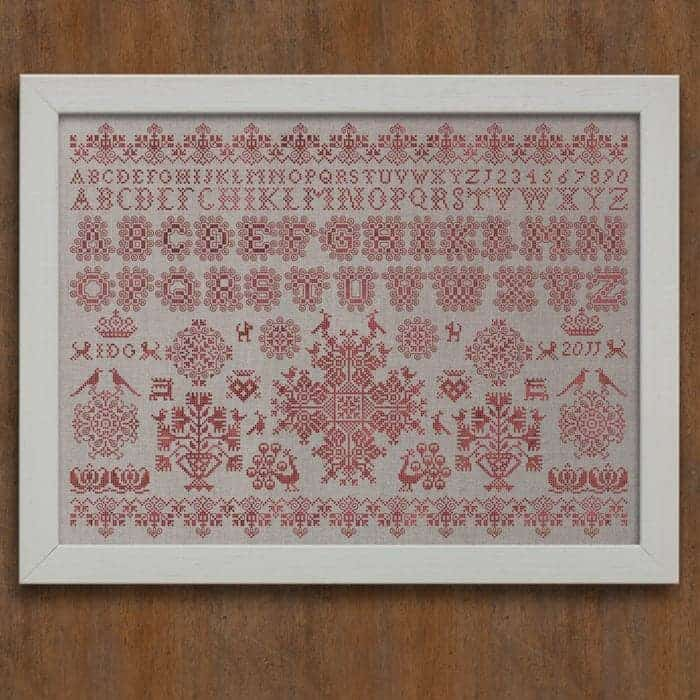 Frisian cross stitch sampler pdf pattern modern folk