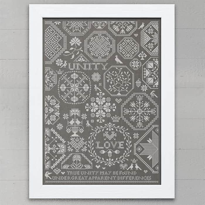 Love Unity A Quaker Sampler Pdf Pattern Modern Folk Embroidery